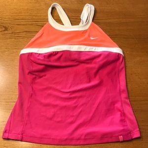 Nike tennis tank, orange/pink/white.  M.